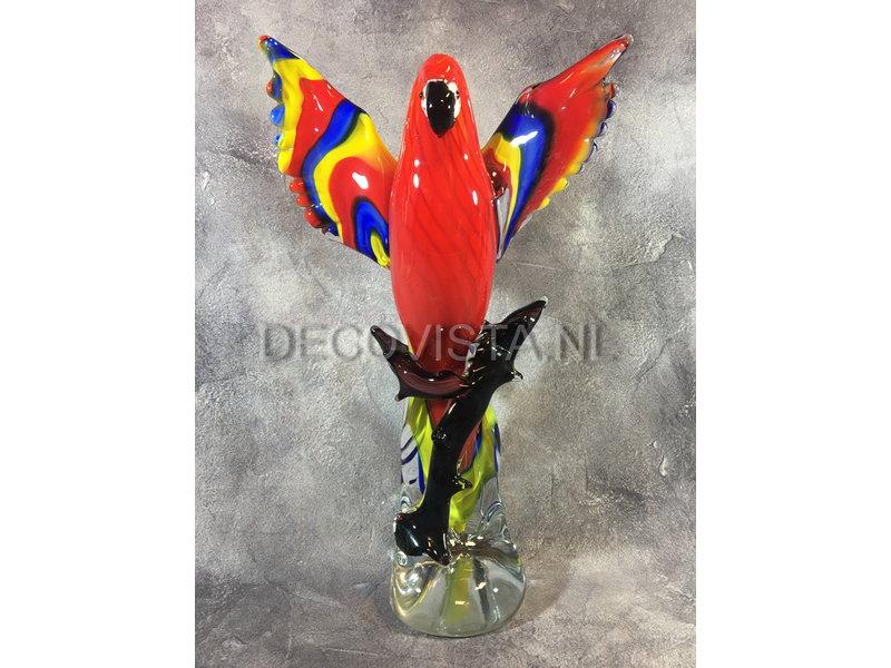 Bontgekleurde Ara van glas, kunstobject