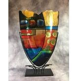 Schlanke, dekorative Vase mit Goldakzenten