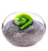 Briefbeschwerer in transparent, grau und grün