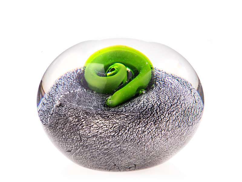 Paperweight in transparent, grey and green