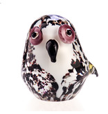 Glass paperweight owl in white and lilac