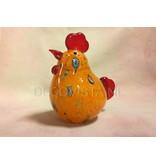 Kip van glas in rood met oranjetinten