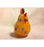 Glass chicken in red with orange tones