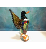 Glass male duck with raised wings.