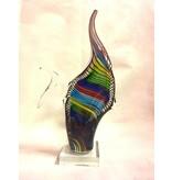Multicolored striped fish on pedestal