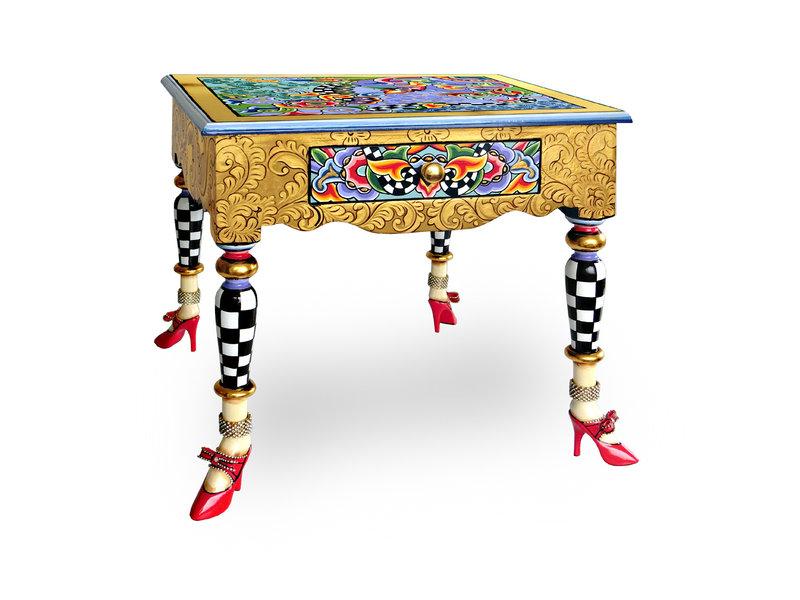 Toms Drag Mesa auxiliar colección Versailles con adornos dorados