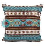 BoHo Decorative cushion Peru Turqoise  White made of  furniture fabric