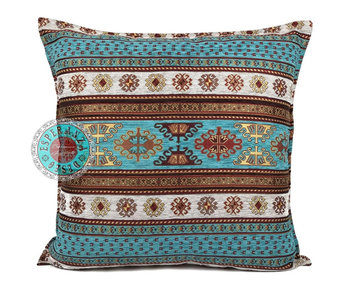 BoHo Cushion Peru Turqoise White - 45 x 45 cm