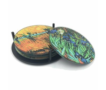 Mouseion Glass coaster set with holder - 4 pc.  - Vincent van Gogh