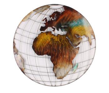 Wanddecoratie metalen wereldkaart