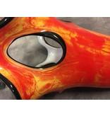 Design vase red-orange mixed with large eyes