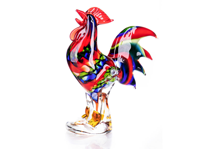 Colorful rooster of glass