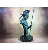 Bronze Indian with spear - bust on marble base
