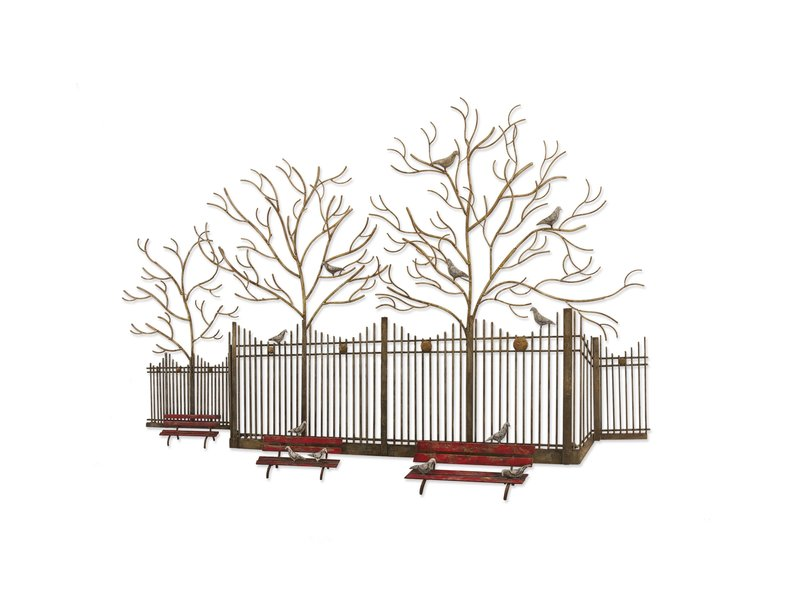 C. Jeré - Artisan House Metal wall sculpture with empty benches in a park