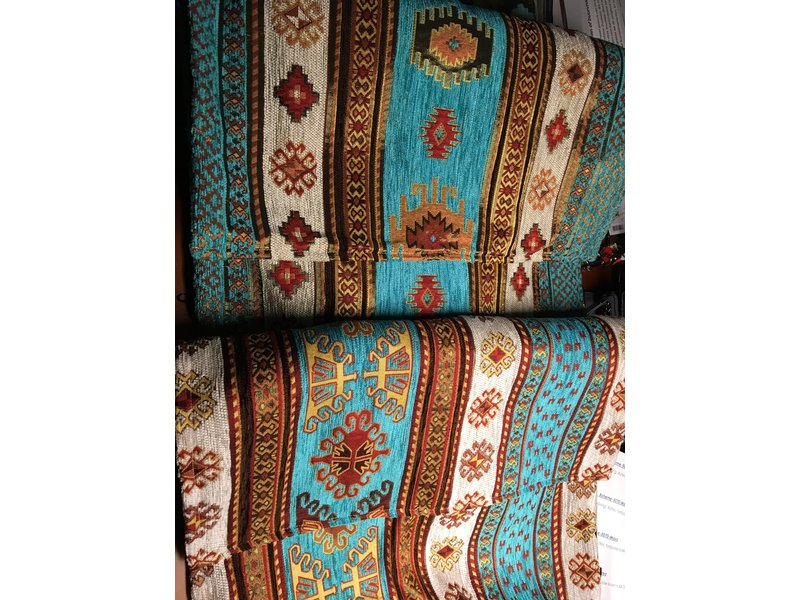 BoHo Table runner woven furniture fabric Aztec Turquoise