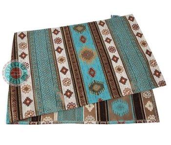 BoHo Bohemian tafelloper Aztec  Turquoise