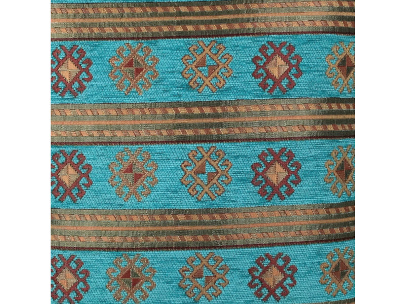 BoHo Table runner woven furniture fabric Peru Stripes Turquoise - 45 x 200 cm