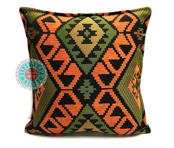 BoHo Kelim  kussenhoes oranje-groen - 45 x 45