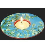 Mouseion Low, round tealight with Van Gogh's almond blossom, Almond Blossom