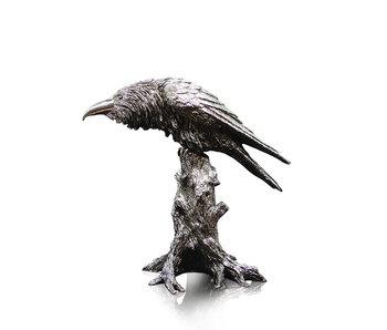 Cuervo en un tocón de árbol