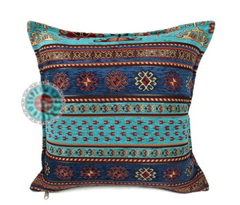 BoHo Cushion Peru Turqoise-Blue - 45 x 45