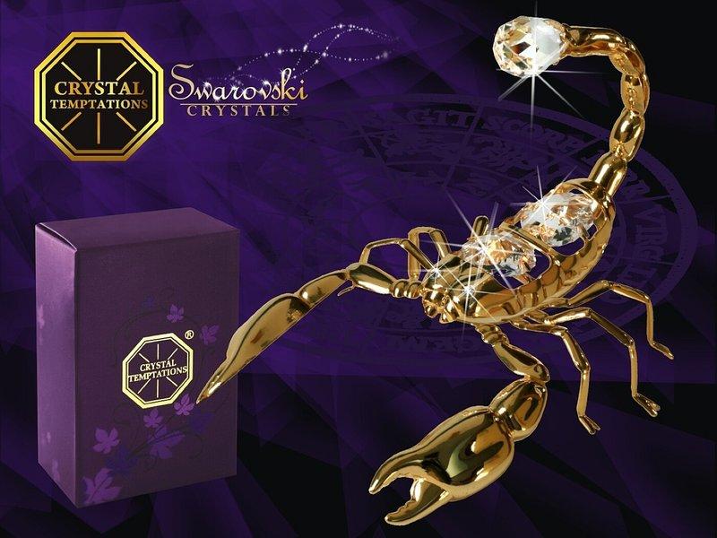 Union Crystal 24 carat gold-plated scorpion with genuine Swarovski crystals