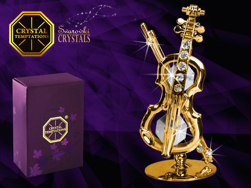Union Crystal 24k gold-plated violin with Swarovski crystals - miniature