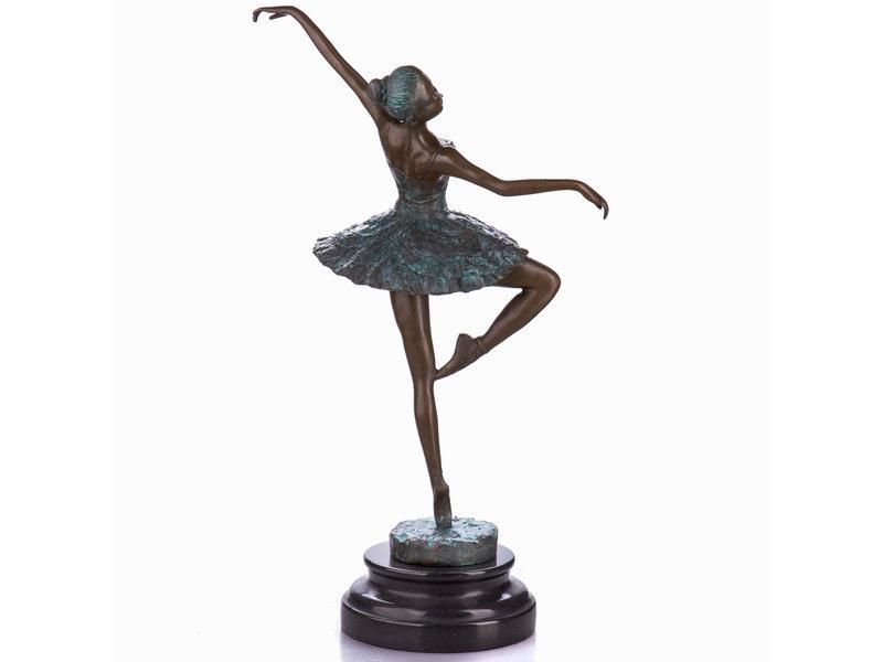 Ballet dancer - bronze sculpture on round pedestal