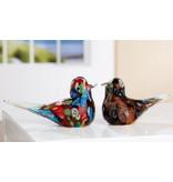 Set of two glass birds Tweet Florale