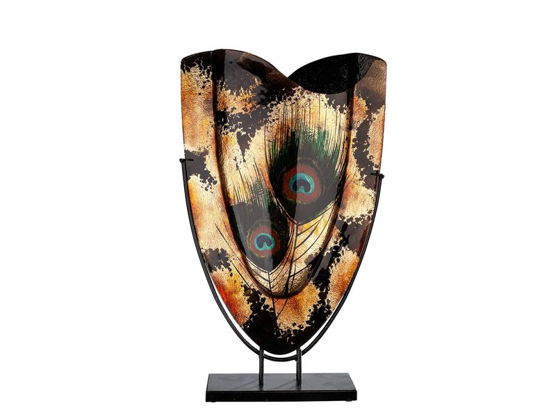 Slender decorative vase with gold accents and peacock feathers - oval XL