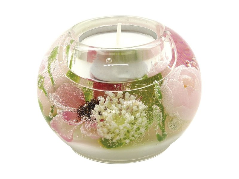 Two ealight holder transparent with pink flowers