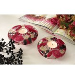 Gilde Dreamlight Tealight holder with pink flowers v