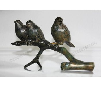 Trio birds on branch, bronze - XL