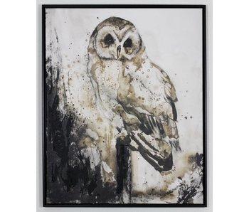 Uil op tak schilderij - mixed art