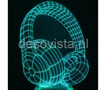 Lámpara de mesa diseño de auriculares 2D