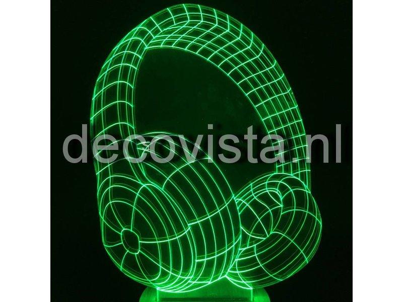 Table lamp in 2D headphone design RGB