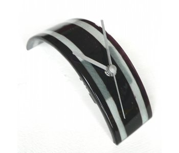 Carneol Desk Clock  Stripy - glasfusion - black-white