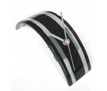 Carneol Tischuhr Stripy, Glassfusion - schwarz-weiss
