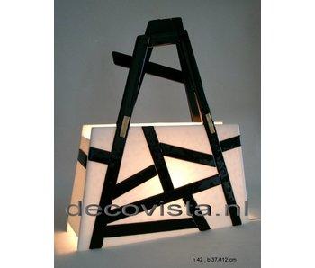 Elena Tafellamp glasfusie, zwart-wit