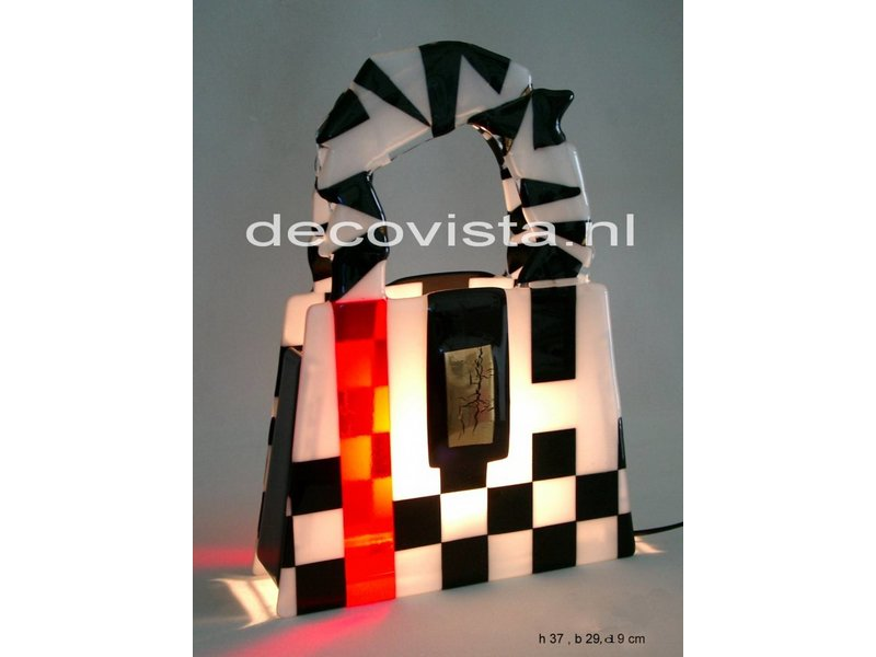 Elena Glass fusion table Lamp  Schag in black-white-red