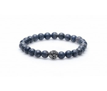 Karma Bracelet Blue Coral Silver with round bead - unisex