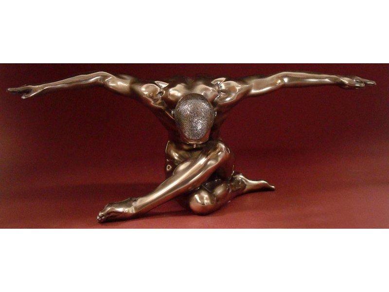 BodyTalk Bronzen body builder met gespreide armen