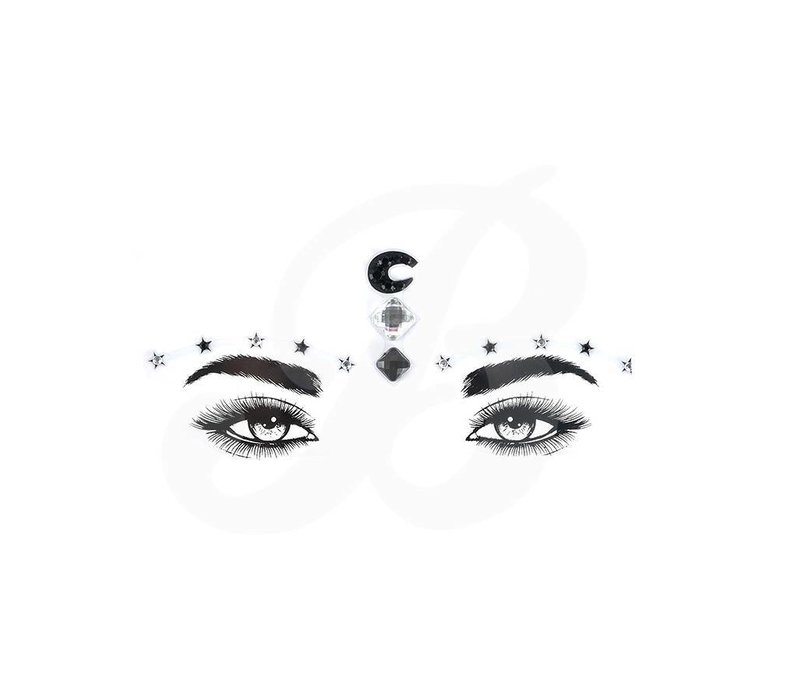 Festival Face Face Gems Moon and Stars Black Silver