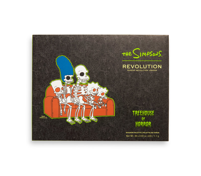 Makeup Revolution x The Simpsons Treehouse Of Horror Collection Seriously Scary Shadow Palette Spooktacular