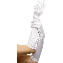 Fever Lange glanzende handschoenen - Wit