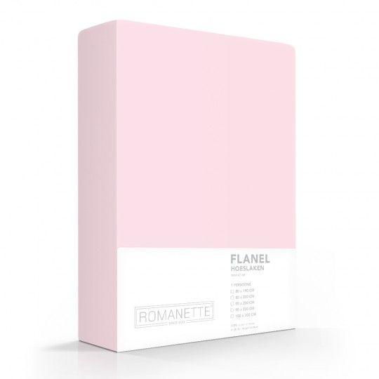 Romanette Hoeslaken Flanel Roze