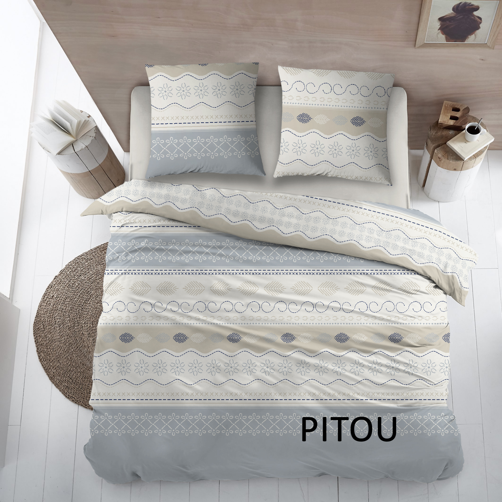 Cottons Dekbedovertrek Katoen Pitou Blue