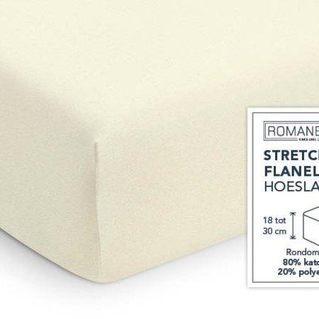 Romanette Hoeslaken Stretch Flanel Ivoor