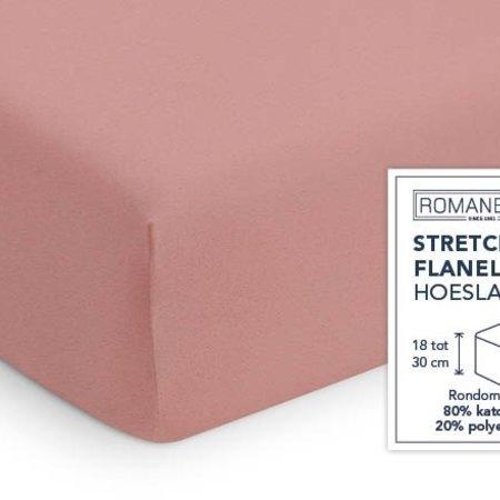 Romanette Hoeslaken Stretch Flanel Poederrose