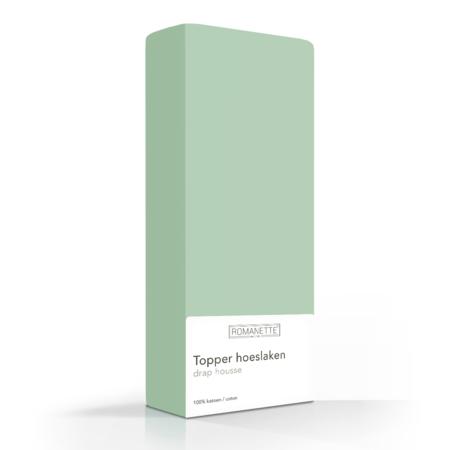 Romanette Topper Hoeslaken Katoen Dusty Green